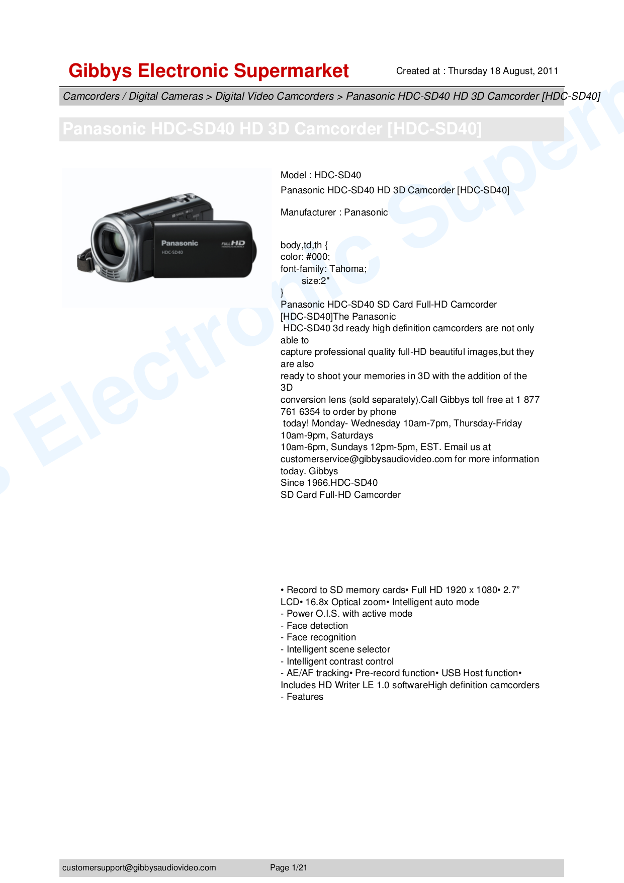 PDF manual for Panasonic Camcorders HDC-SD40